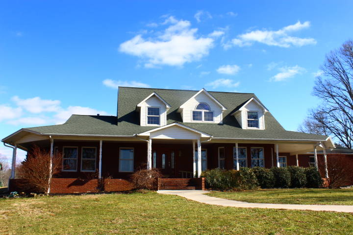 Horse farm with 3100 sf custom built brick home and salt for Custom built brick homes